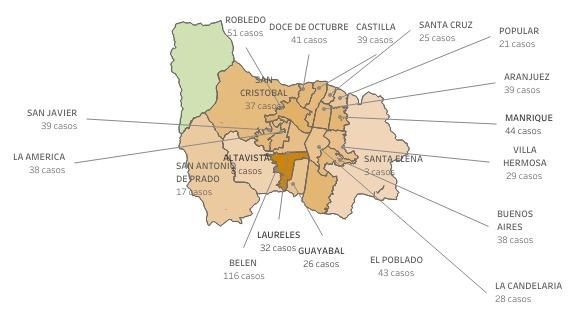 Covid-19 en Barrios Medellín el 16 de febrero