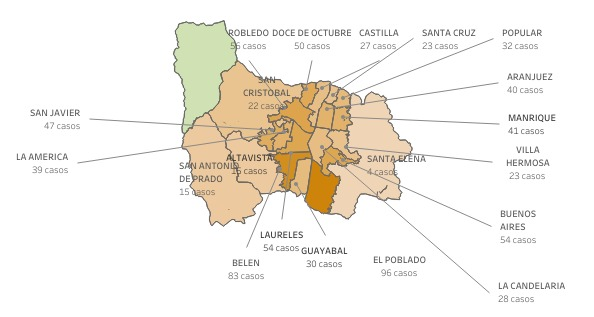 Covid-19 en barrios de Medellín el 23 de febrero