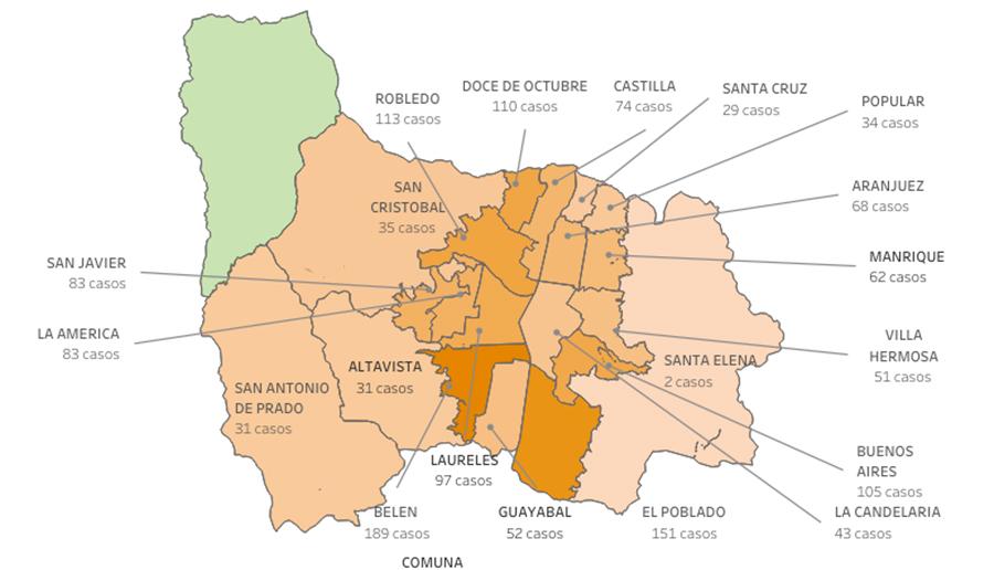 Nuevos contagios de COVID19 en Medellín para el miércoles 24 de marzo