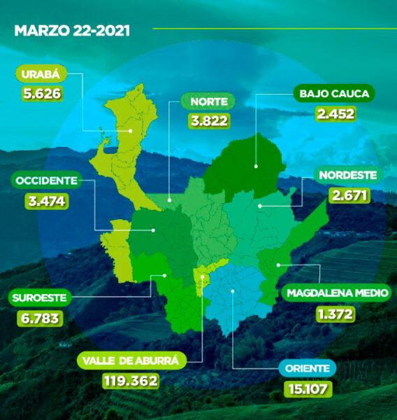 Vacunacion en Antioquia contra COVID19 22 de marzo de 2021 Mapa