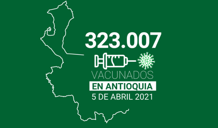 Balance de vacunación en Antioquia: 323.007 dosis aplicadas