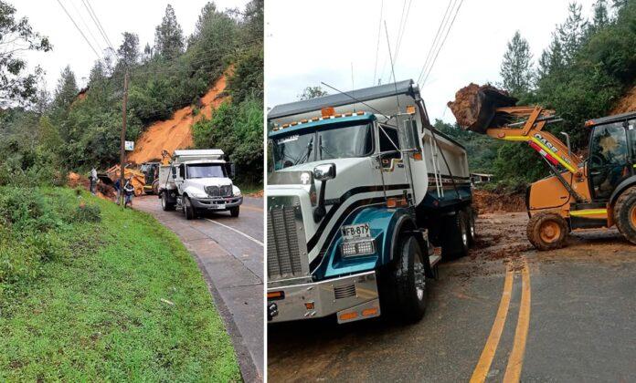 Cerrada vía Las Palmas por caída de árboles y derrumbe en sectores Carrizales y Sancho Paisa