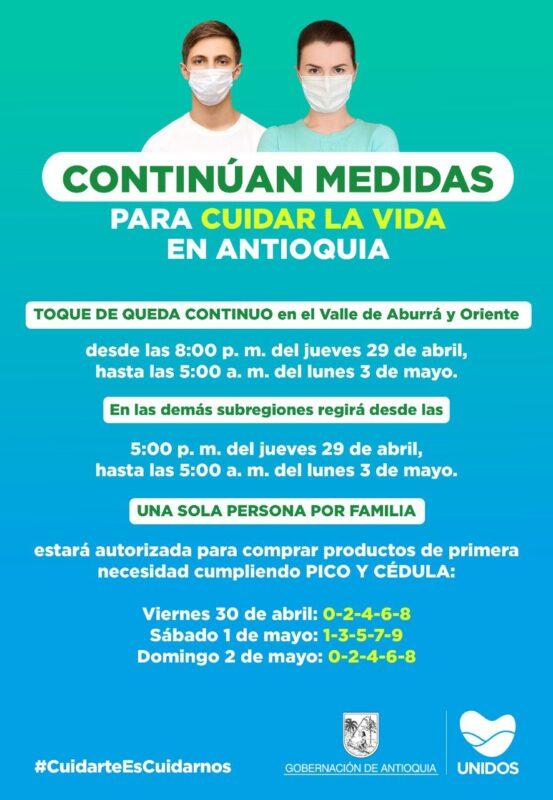 Conoce y cumple las medidas este fin de semana para cuidar la VIDA en Antioquia