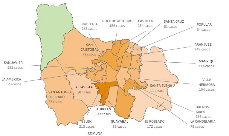 Reporte de casos de COVID19 en Medellín para el lunes 5 de abril