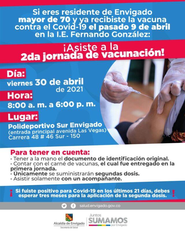 Segunda jornada masiva de vacunación en Envigado, para mayores de 70 años