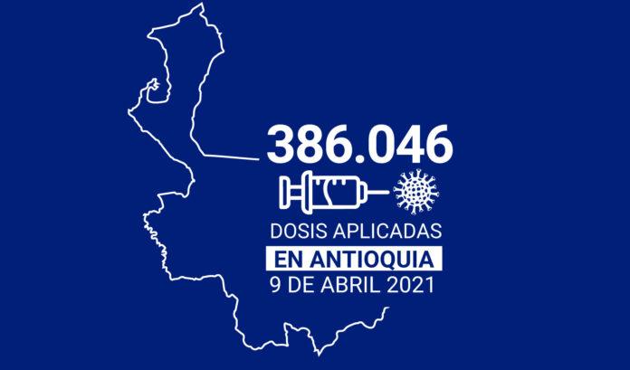 Vacunación anti COVID19 en Antioquia: se han aplicado 386.046 dosis