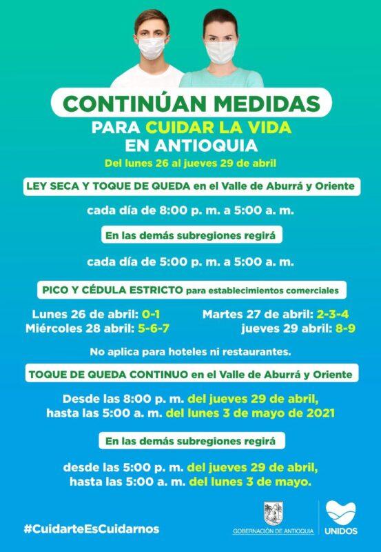 Nuevas medidas en Antioquia para frenar el COVID19: continúa el modelo 4/3 durante esta semana
