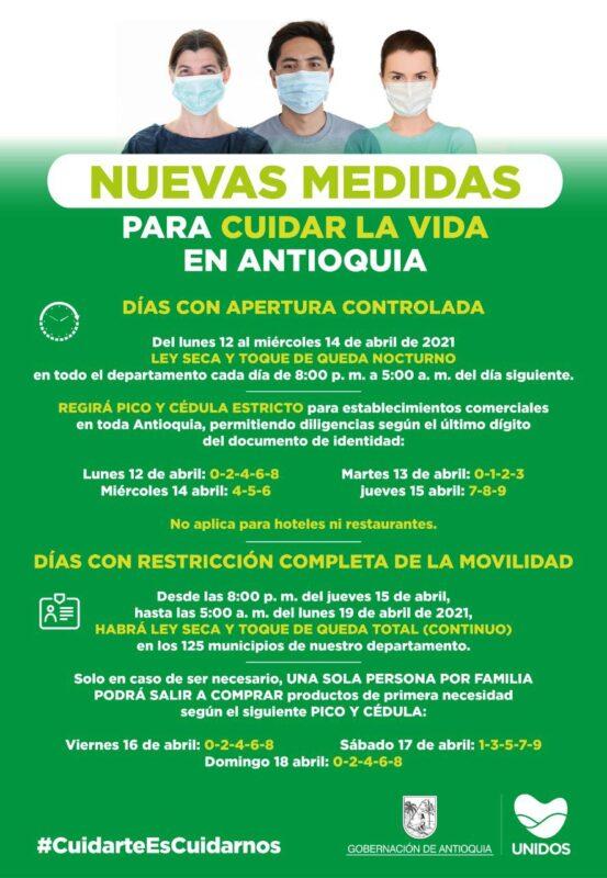 Gobernación de Antioquia decreta nuevas medidas para frenar alza de contagios de COVID-19
