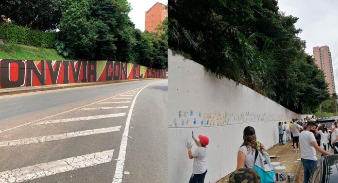Borraron mural hecho en alusión al paro en avenida 34, en El Poblado