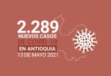 Nuevos contagios de COVID19 en Antioquia para el jueves 13 de mayo
