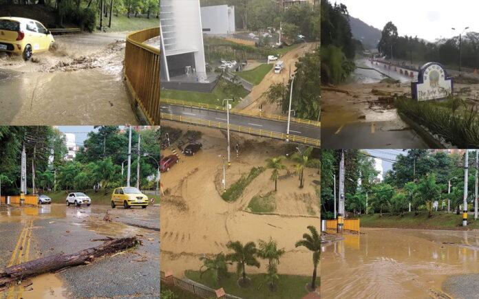 Inundaciones e incidentes en El Poblado tras fuerte aguacero