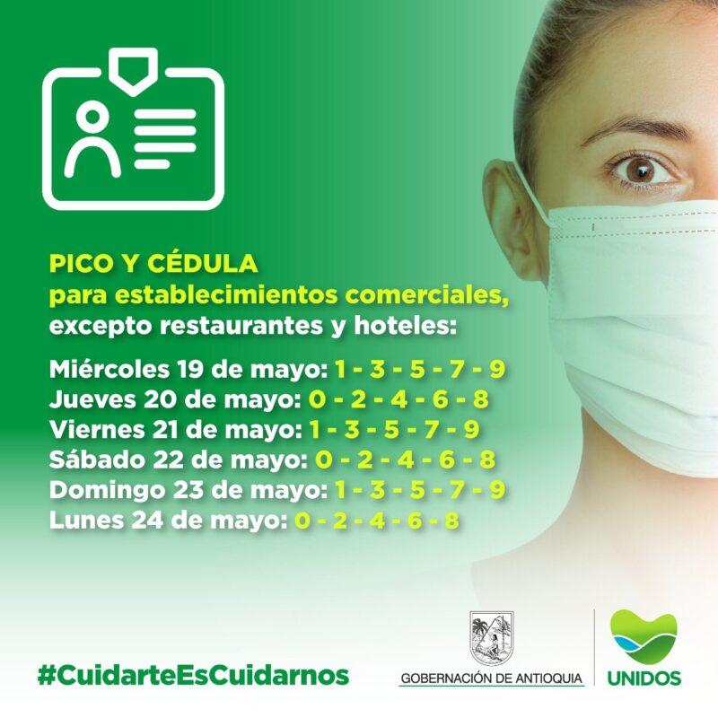 Pico y cédula en Medellín para el jueves 20 de mayo