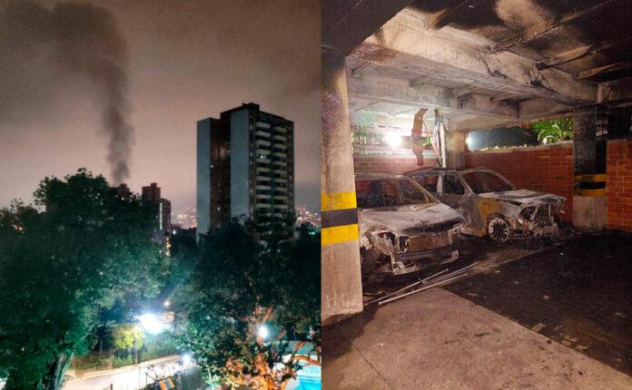 Vehículo se incendió en el parqueadero del Edificio Puente Madero, aún se desconocen las causas