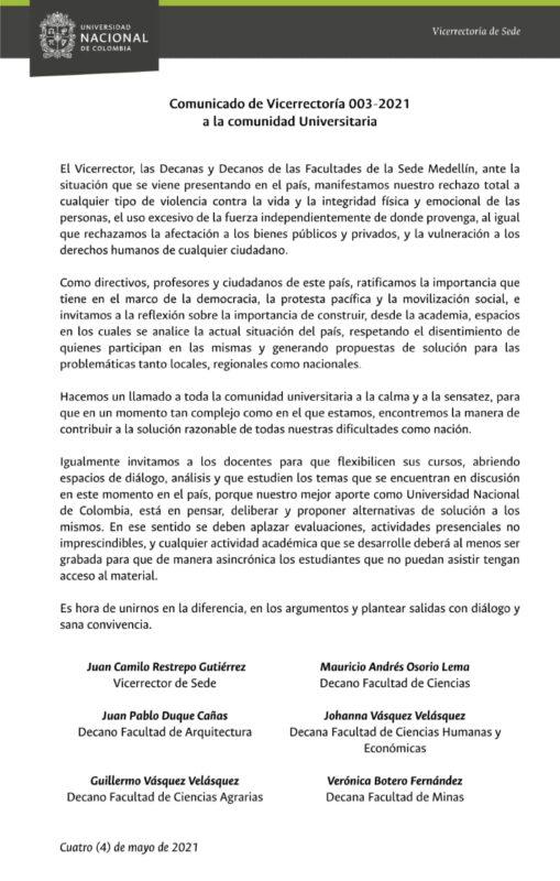 Vivir en El Poblado comparte con sus lectores este importante pronunciamiento de la Universidad Nacional sede Medellín: