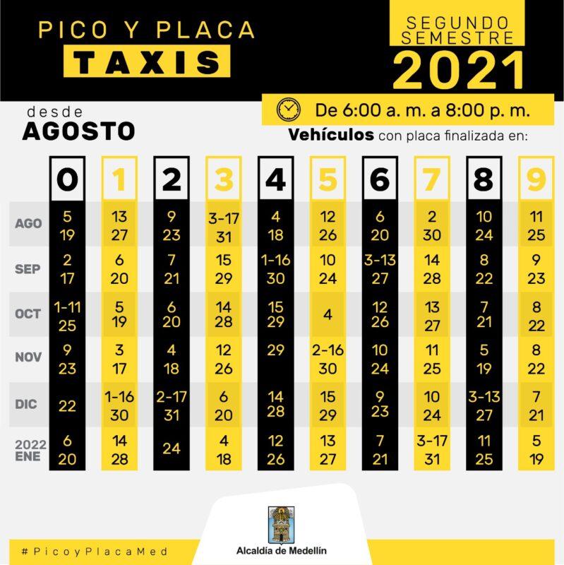 Pico y placa hoy en Medellín desde agosto de 2021