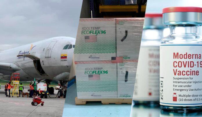 Vacunas Moderna llegaron a Colombia, donadas por EEUU