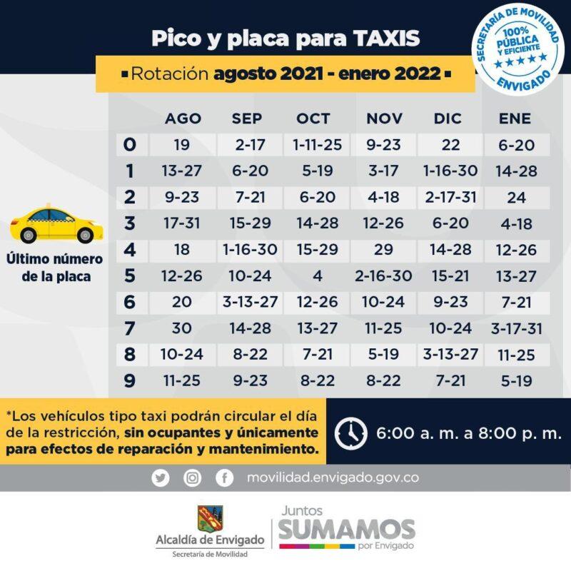 Envigado tiene nueva rotación de pico y placa para taxis