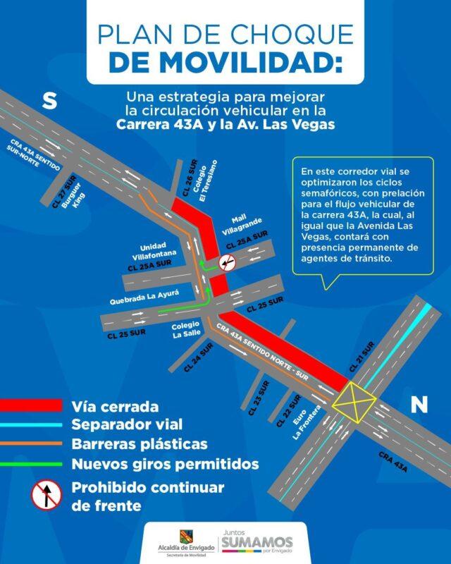 Plan de Choque de Movilidad en Envigado -mapa