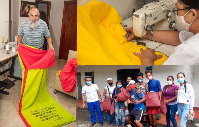 Sacos de dormir cosidos en Envigado, para migrantes venezolanos